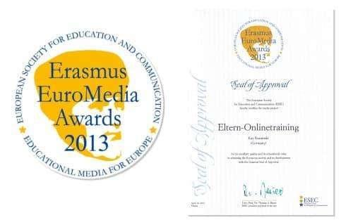 Erasmus Euromedia Awards 2013: Siegel und Medaille für das Eltern-Onlinetraining